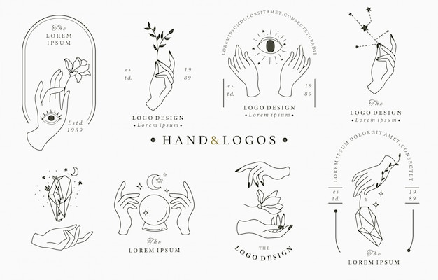 Beauty boho logo collection with hand