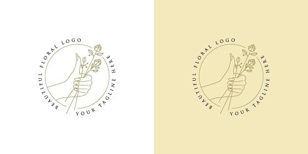 Beauty boho logo with feminine hand nails and flower round premium vector