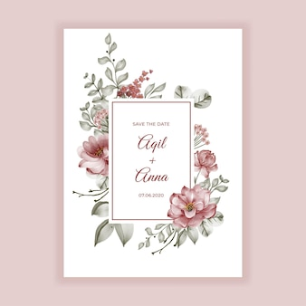 Beauty burgundy roses watercolor frame for background wedding invitation