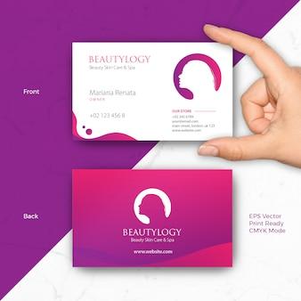 Шаблон визитной карточки для салона, спа, парикмахерская, мода, уход за кожей, деловая женщина