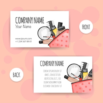 Beauty business card with cosmetic bag and cosmetics. cartoon style. vector illustration.
