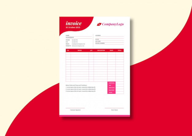 Beauty business invoice template