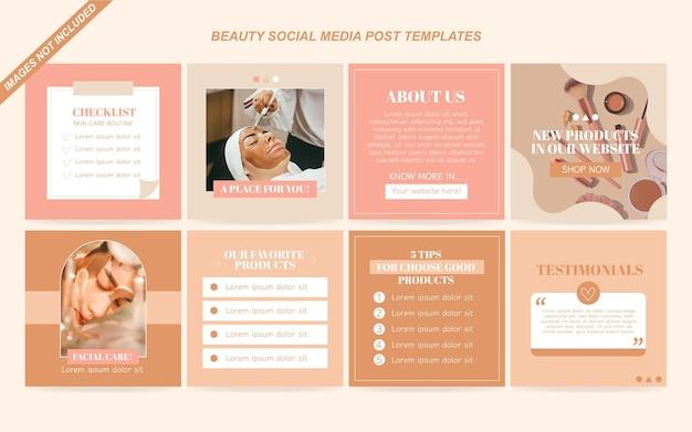 Шаблоны сообщений в социальных сетях о красоте бесплатные векторы Premium векторы