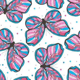 Beauty butterfly hand drawn seamless pattern illustration