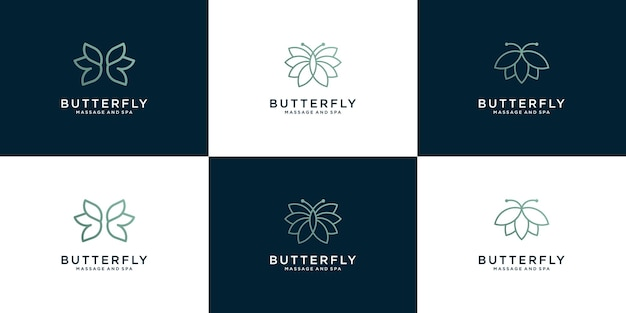Beauty butterfly logo collection with line art style