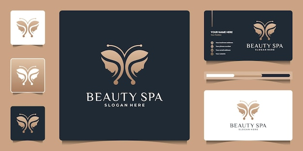 Beauty butterfly with women face logo design and business card template.