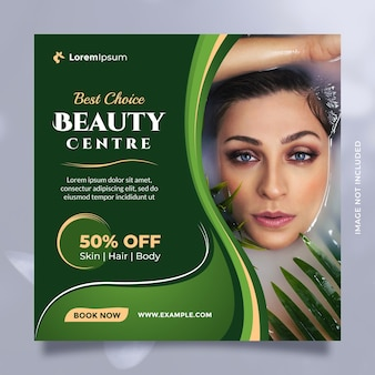Beauty care center service concept social media post and banner template with green natural theme