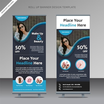 Beauty care roll up banner  template liquid shape gradation, organized layer