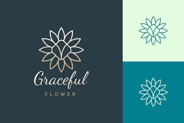 Beauty care or salon logo in luxury and feminine flower shape
