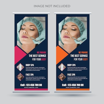Beauty care, spa roll up banner template