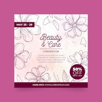 Beauty and care square flyer