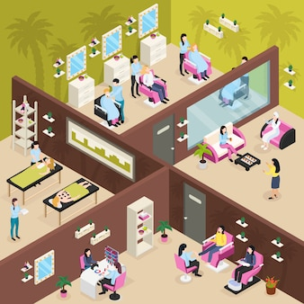 Beauty center isometric composition
