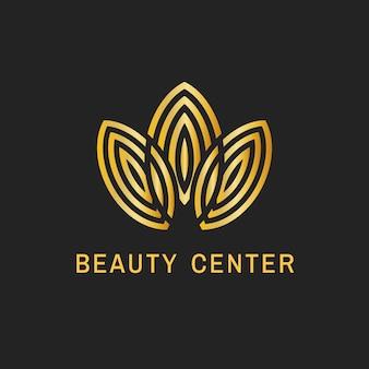 Logo della foglia del centro estetico, elegante design in oro per il business della salute e del benessere vettore
