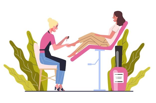 뷰티 센터 서비스 개념. 다른 절차를 가진 미용실 방문자. 페디큐어를 받고 살롱에서 여성 캐릭터입니다. 삽화