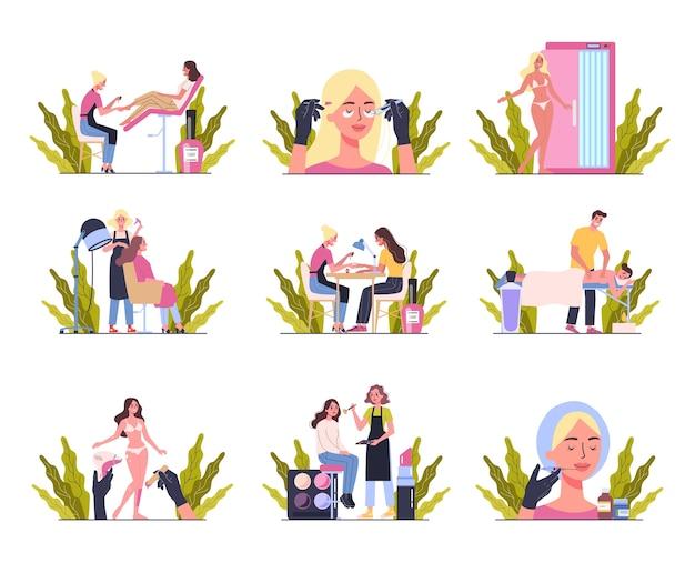 뷰티 센터 서비스 개념. 다른 절차를 가진 미용실 방문자. 살롱에서 여성 캐릭터. 마사지, 네일, 메이크업, 왁싱, 일광 욕실, 필러. 일러스트 세트
