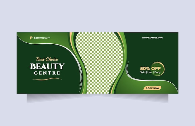 Beauty center service concept social media post and banner template with natural green theme