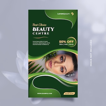Beauty center service concept social media story and banner template with green natural theme