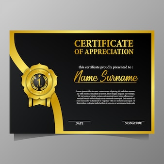 ゴールデンピンメダルプレミアム品質と黒の背景と美しさ証明書