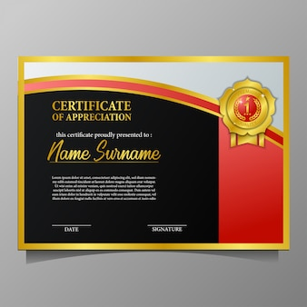 Beauty certificate with golden pin medal premium quality and black background