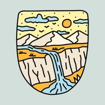 Красота скал и иллюстрация водопада