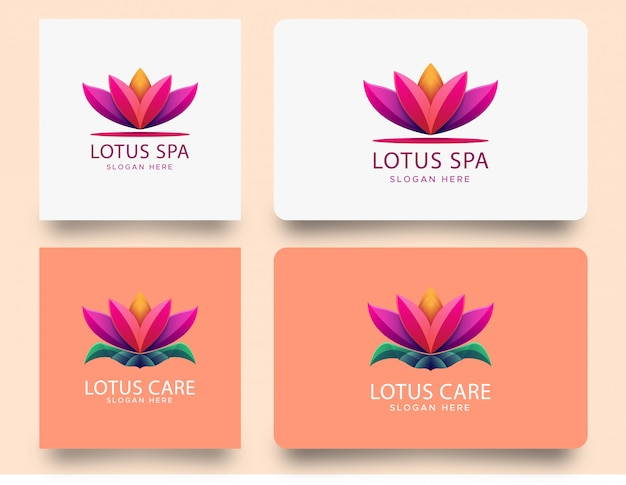 Красочный градиентный логотип лотоса