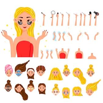 Конструктор красоты с женским персонажем для салонов красоты или рекламы .. мультяшный стиль. векторная иллюстрация.