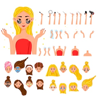 Beauty constructor with a female character for beauty salons or advertising.. cartoon style. vector illustration.