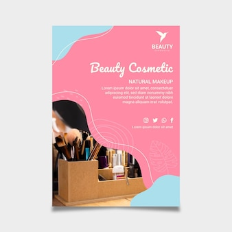 Beauty cosmetic flyer print template