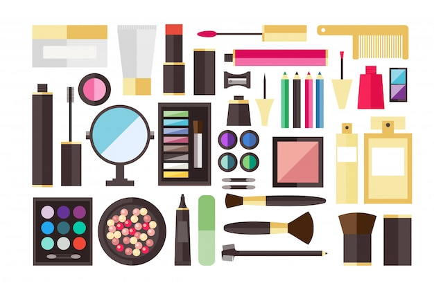 Beauty cosmetic icon set