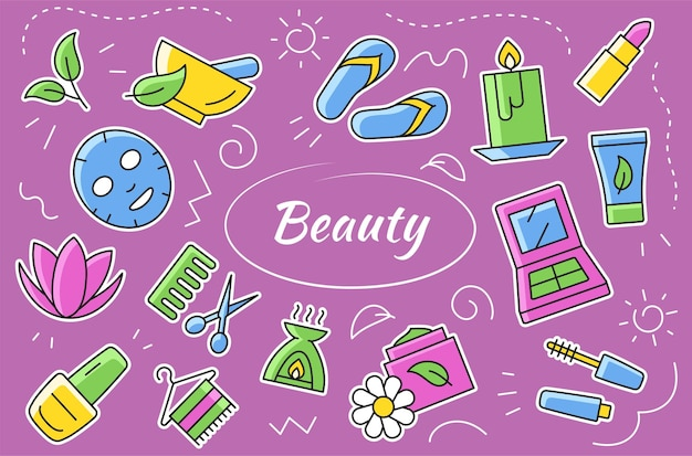 Beauty and cosmetic icons and elements set. vector sticker collection
