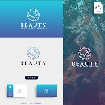 Beauty cosmetic line art logo icon element