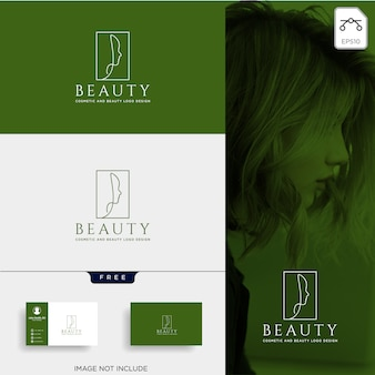 Beauty cosmetic line art logo vector icon element