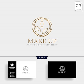 Beauty cosmetic line logo vector icon