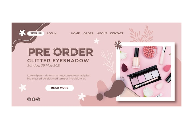 Beauty cosmetic natural make-up landing page