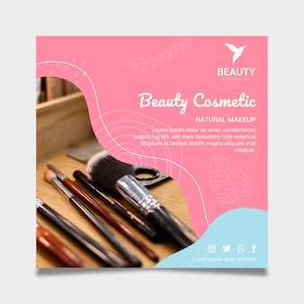 Beauty cosmetic natural make-up square flyer template