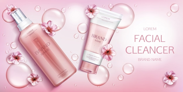 Beauty cosmetic product on pink