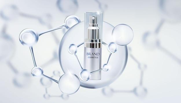 Косметический продукт красоты с молекулой. косметические бутылки макет баннера. реалистичные 3d вектор