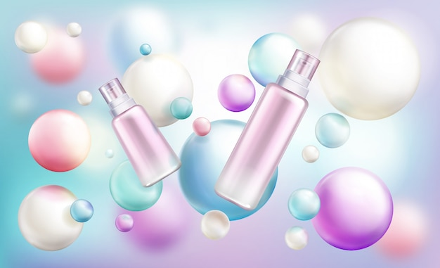 Beauty cosmetics different size bottles