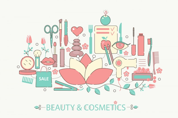 Beauty and cosmetics flat line concept