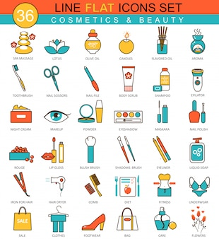 Beauty and cosmetics flat line icons