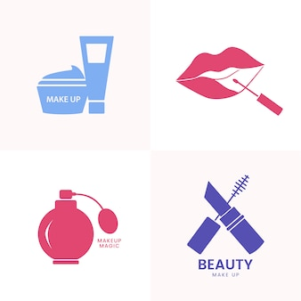 Beauty cosmetics icon set