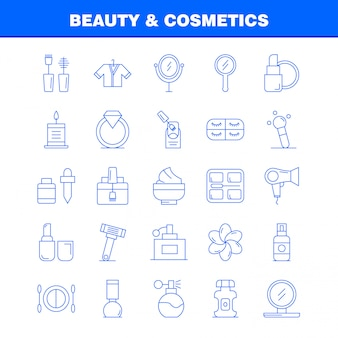 Beauty and cosmetics line icons set