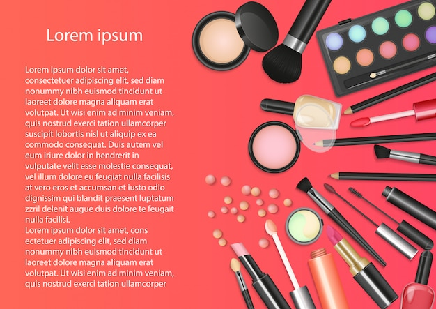 Beauty cosmetics makeup background