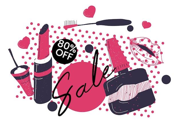 美容化粧品セールとバナー80オフ価格