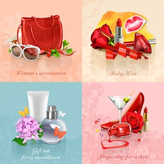 Beauty and cosmetics set of concepts  s