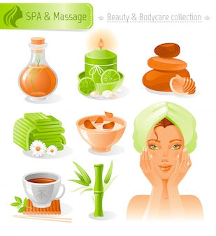 Beauty and cosmetics set. spa and massage collection with beautiful girl in towel.