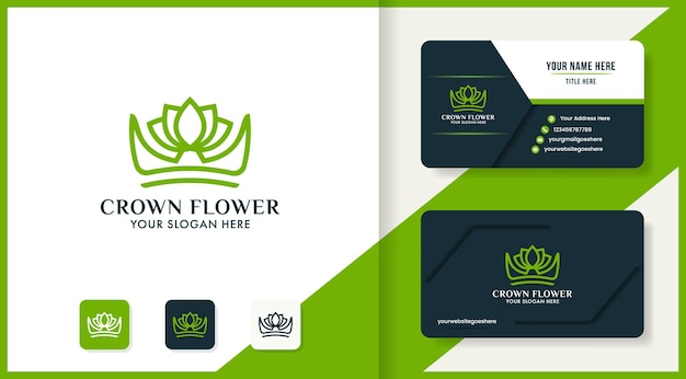 Beauty crown leaf logo design and business card