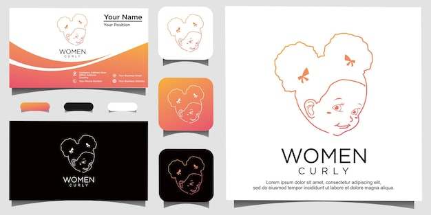 Beauty curly with line art logo design