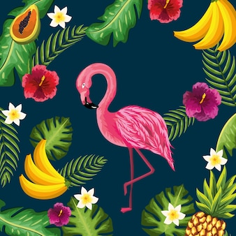Beauty and cute flowers plants with flamingo background