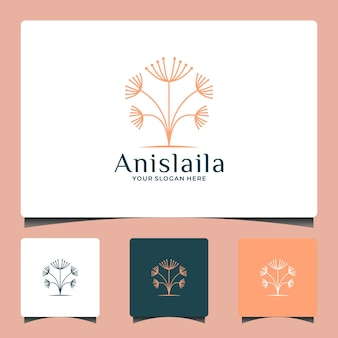 Красота одуванчик дизайн логотипа салон спа травяная элегантность косметическая мода и т. д.